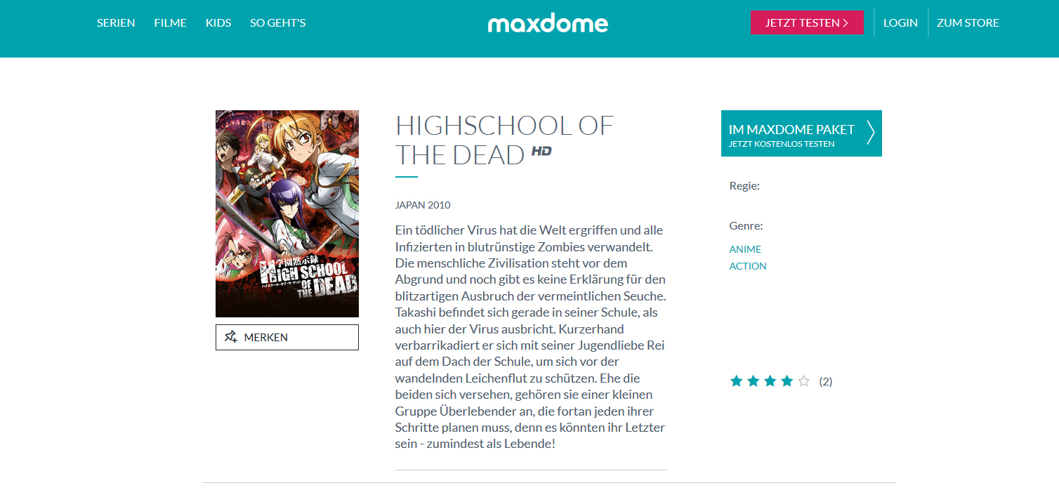 Maxdome Nimmt Highschool Of The Dead Ins Programm Auf